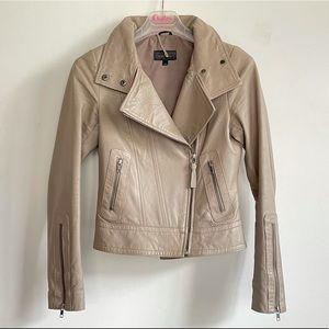 mackage motorcycle jacket in beige XS